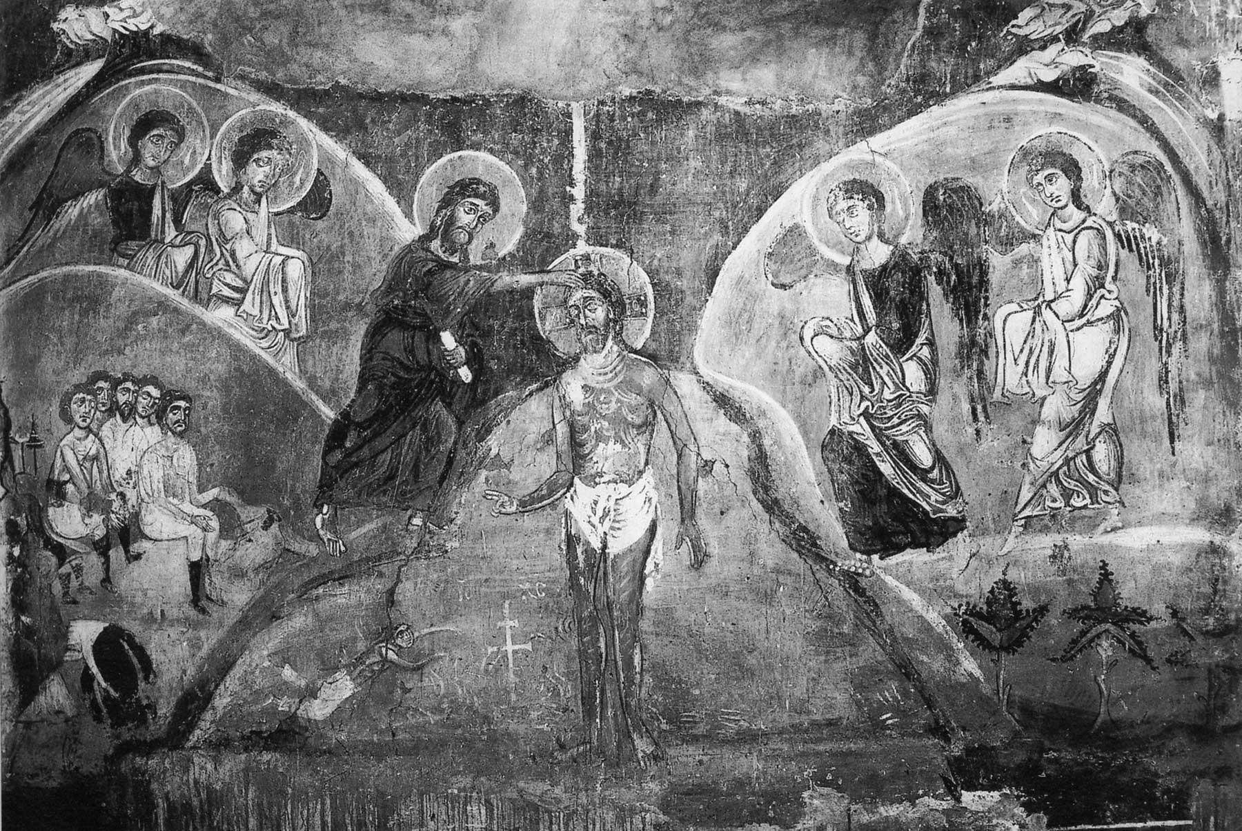 Крещение, фреска церкви Спаса на Нередице близ Новгорода, 12в.