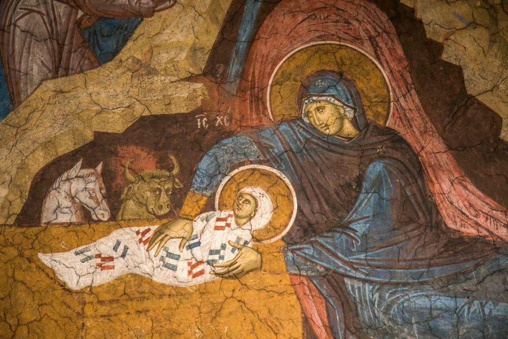 Фреска монастыря Дечаны, 14 в, фрагмент